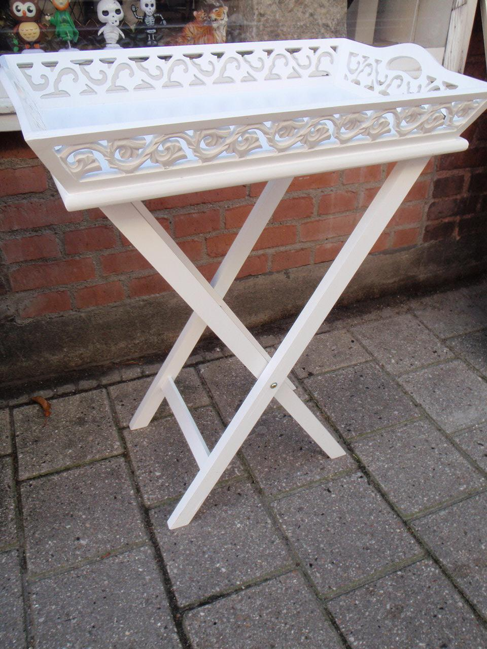 Tidsmæssigt Hvidt Bakkebord antik patineret fransk landstil 57x71x35cm AN-15