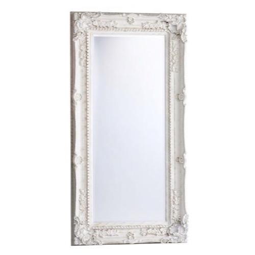 spejl med ramme Facetslebet Hvidt spejl Barok antik patineret 93x183cm spejl med ramme