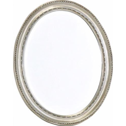 ovalt spejl Facetslebet Ovalt Sølv Spejl antik patineret ramme 37x47cm ovalt spejl