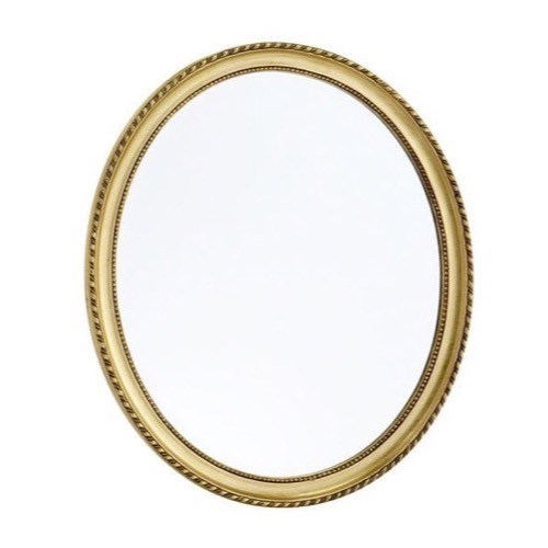 guld spejl Facetslebet Ovalt Guldspejl antik patineret mønster 60x70cm guld spejl