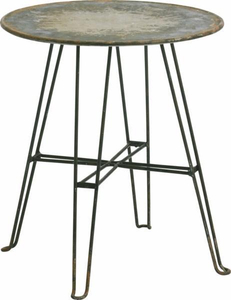 Rundt metal bord antik rust/sort - Se flere metal møbler her