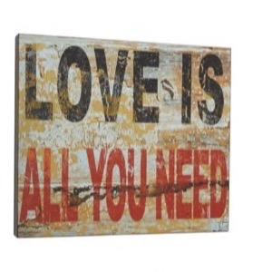 Træ skilt 51x44x5cm Love Is All You Need - Se flere Træ skilte