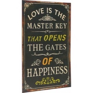 Metal skilt 33x56cm Love Is The Master Key That Opens The Gates Of Happiness - Se flere Metal skilte