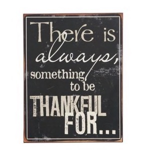 Metal skilt 13878 sort/hvid There Is Always Something To Be Thankful For... 31x39cm