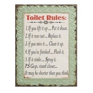 Metal skilt 33x43cm Toilet Rules
