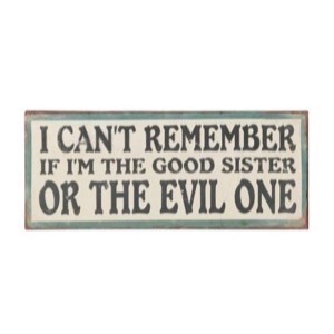 Metal skilt 31x13cm I Can't Remember If I'm The Good Sister Or The Evil One - Se flere Metal skilte