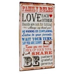 Metal skilt 33x54cm Family Rules