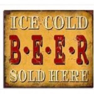 Antik look Træ skilt 40x30cm Ice Cold Beer Sold Here