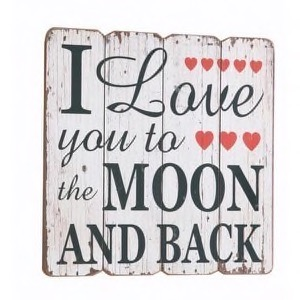 Antik look træ skilt I Love You To The Moon And Back 40x40cm
