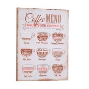 Antik look Træ skilt 30x40cm Coffee Menu - Know Your Coffee