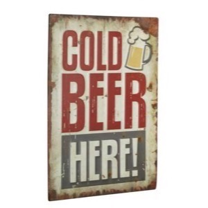 Cold Beer Here - metal skilt 30x40cm