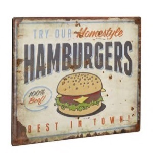 Metal skilt 40x30cm Try Our Homestyle Hamburgers - 100% Beef - Best In Town