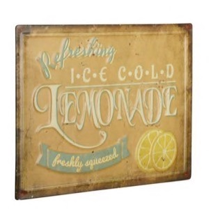Gult Metal skilt 40x30cm med teksten Refreshing Ice Cold Lemonade - freshly squeezed