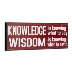 Træ skilt 40x14x2cm Knowledge Is Knowing What To Say... - Se flere Træ skilte