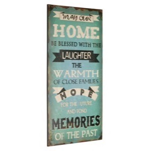 1800701 May Our Home Be Blessed With The Laughter metal skilt 30x60cm Rustikt Retro Skilt - se metal skilte og spejle