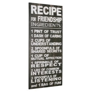 Metal skilt 30x60cm Recipe For Friendship Ingredients - Se metal skilte og spejle