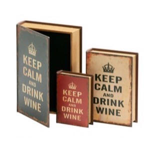 Bog skrin 608 Keep Calm And Drink Wine creme lille 18x13x4cm