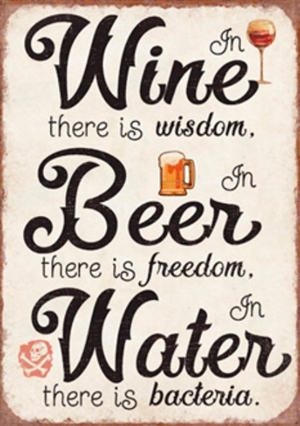 Magnet 5x7cm In Wine There Is Wisdom In Beer There Is Freedom In Water There Is Bacteria - Se flere Magneter og Spejle