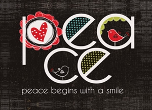 Magnet 7x5cm Peace, Peace Begins With A Smile  - Se flere Magneter