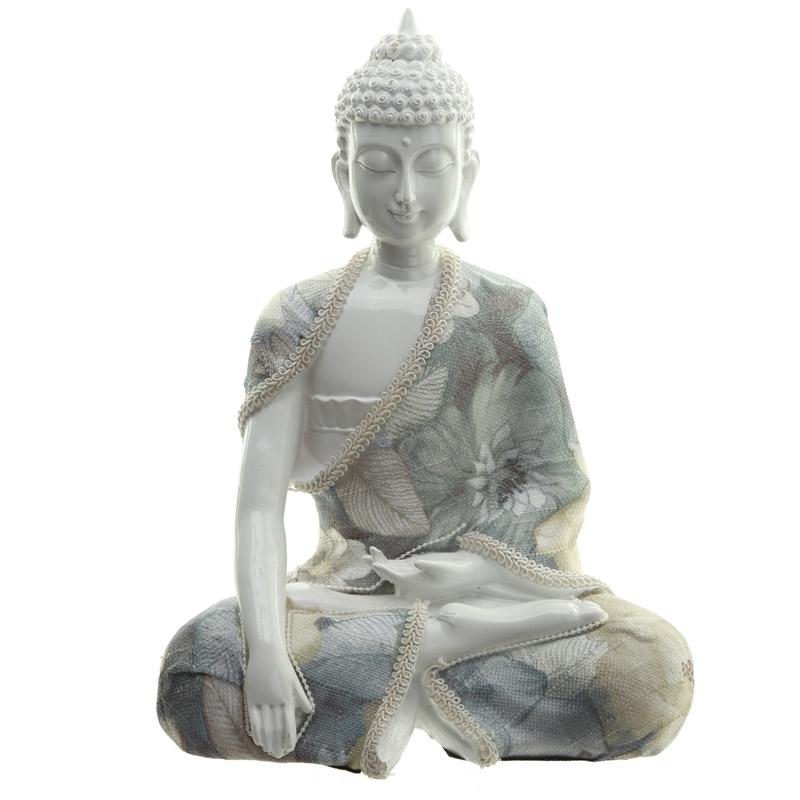 Buddha 299 relaxation siddende hvid polyresin med stof 23x17cm for Figur buddha