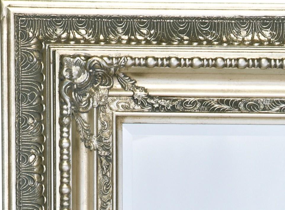 spejl med ramme Facetslebet Barok Sølvspejl antik patineret ramme 120x200cm spejl med ramme