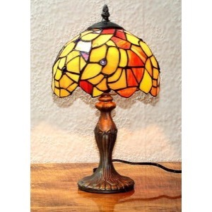 Tiffany bordlampe DK52 orange gul - Se Tiffany lamper