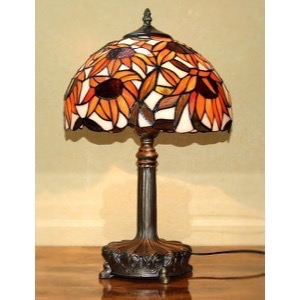 Tiffany bordlampe DP63 Orange Solsikker  - Se Tiffany lamper