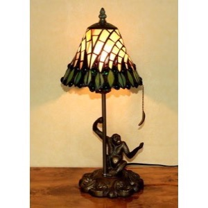 Tiffany bordlampe DL14 Abe figur fod - Se Tiffany lamper