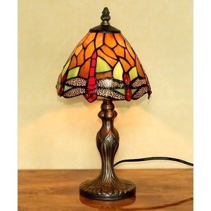 Tiffany bordlampe DL17 orange farver - Se Tiffany lamper