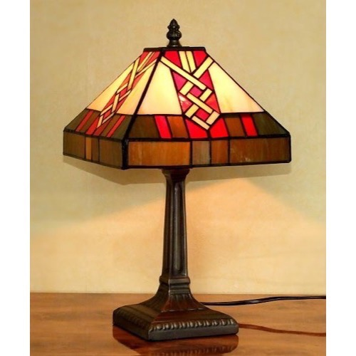 Tiffany bordlampe DL19 pyramideformet - Se Tiffany lamper
