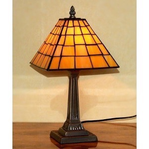 Tiffany bordlampe DL20 orange pyramideform - Se Tiffany lamper