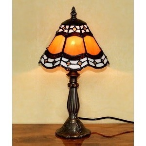 Tiffany bordlampe DL30 orange sort farve - Se Tiffany lamper
